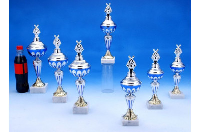 Bowlingpokale silber-blau