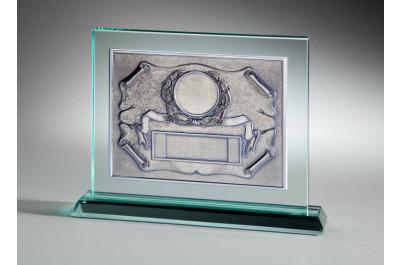 JADE-Glastrophäe mit ALU-Relief