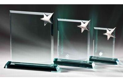 JADE-Glastrophäe mit Metallstern