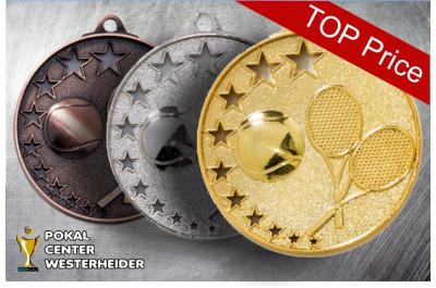 Medaillen Tennis ST9237 gold-silber-bronze