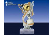 Eishockeypokal-Figur mit Henkel in silber-gold