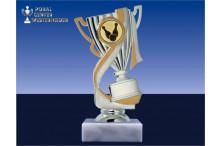 Bowlingpokal-Figur mit Henkel silber-gold