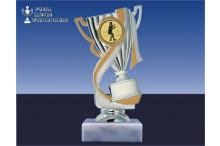 Fechtsportpokal-Figur mit Henkel in gold-silber