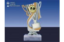 Tischtennispokal-Figur mit Henkel silber-gold