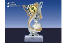Volleyballpokal-Figur mit Henkel in gold-silber