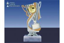 Motorsportpokal-Figur mit Henkel in silber-gold