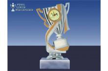 Reitsportpokal-Figur mit Henkel silber-gold