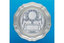 Ehrenteller aus Metall mit prägo Ronde incl. Gravur Emblem