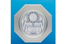 Achteck Ehrenteller aus Metall mit prägo Ronde incl. Gravur Emblem