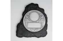 Schieferlook-Wandplaketten-Relief mit Prägo-Scheibe für 50mm Embleme