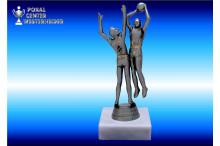 Basketballfiguren in silberantik 34062