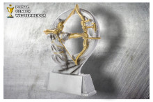 Bogenschiessen Damen Figur silber-gold ST39283