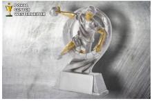 Handball Damen Figur silber-gold ST39322