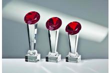 Exklusive-Glastrophäen inkl Gravur mit Glas-Diamant rot