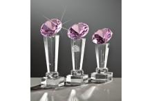 Exklusive-Glastrophäen inkl Gravur auf Kristallsäulen und Glasdiamant rose