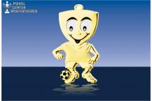 Lustige Fussballmedaillen in gold
