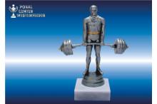 Gewichtheberfiguren-Trophäe in silberantik