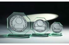 Achteck Glastrophäen mit Emblem Prägo-Scheibe