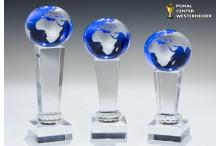 Glas Globus Weltkugel blau auf Kristallsäulen