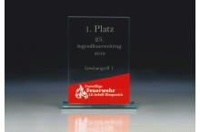 Glastrophäen Sonderanfertigung ''fire base'' ST35771-V red