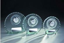 günstige Glastrophäen Wellenschliff mit Uhr und Gravur