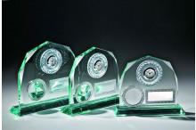 Jade-Glastrophäen Fassettenschliff mit Uhr Emblem und Gravur