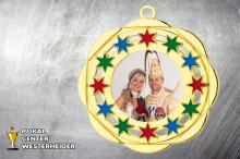 Karnevals Orden in gold-rot-grün-blau BD45A mit Foto