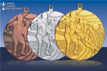 Basketballmedaillen  Zweikampf in gold-silber-bronze