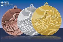 "50mm Schwimmmedaillen ""Kraul"" in gold-silber-bronze"
