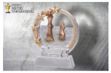 Schach pokal Figur silber-gold ST39359