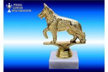 Schäferhundfigur in goldglanz