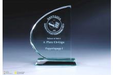 Glastrophäe ''Halbbogen'' Facettenschliff 15mm Stärke