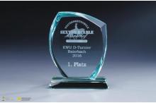 Glastrophäen halbrund-Facettenschliff mit Lasergravur 15mm Stärke