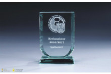 Glastrophäe ''Wappen'' Facettenschliff 12mm Stärke
