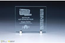 günstige Glastrophäen mit Metallhalterungen 6mm Stärke