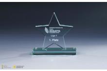 Glastrophäe ''Star'' auf Echtglassockel 10mm Stärke