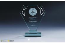 Glastrophäe ''Pokalform'' Fassettenschliff 15mm Stärke