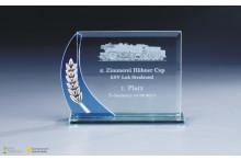 günstige Glastrophäen blau-klar mit Verzierung 6mm