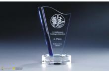 Hochmoderne Designer Glastrophäen 12mm Stärke blue-Clear