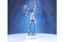 Tennisfigur Damen maxi in silberantik 23cm