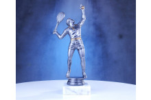 Tennisfigur Herren maxi in silberantik 24cm