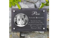 Tiergrabsteine für Hamster - NOBLESSE-PREMIUM - Gedenktafeln für Tiere mit Laser-Gravur EXKLUSIV in Sandwichbauweise ACRYLGLAS – NATURSCHIEFER und 4 Edelstahl Abstandshaltern, 300x200mm