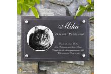 Tiergrabsteine für Katzen - NOBLESSE-PREMIUM - Gedenktafeln für Tiere mit Laser-Gravur EXKLUSIV in Sandwichbauweise ACRYLGLAS – NATURSCHIEFER und 4 Edelstahl Abstandshaltern